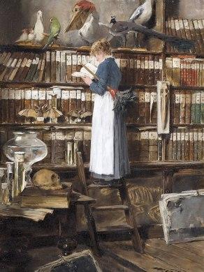Edouard_John_Mentha_Lesendes_Dienstmädchen_in_einer_Bibliothek, By Édouard John Mentha (1858–1915) (Dobiaschofsky Auktionen) [Public domain], via Wikimedia Commons