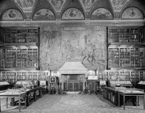 Pierpont Morgan Library, E. 36th St., New York City. Main room, from entrance door. Foto by Gottscho-Schleisner, Inc., photographer,